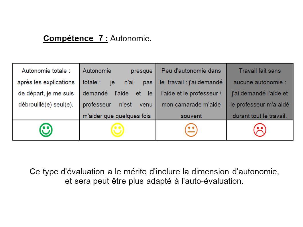 Compétence 7 : Autonomie. Ce type d'évaluation a le mérite d'inclure la dimension d'autonomie, et sera peut être plus adapté à l'auto-évaluation.