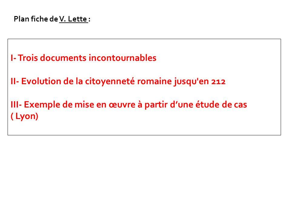 I- Trois documents incontournables II- Evolution de la citoyenneté romaine jusqu'en 212 III- Exemple de mise en œuvre à partir dune étude de cas ( Lyo