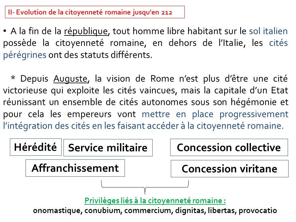 II- Evolution de la citoyenneté romaine jusqu'en 212 A la fin de la république, tout homme libre habitant sur le sol italien possède la citoyenneté ro