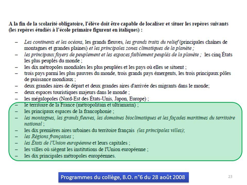 23 Programmes du collège, B.O. n°6 du 28 août 2008