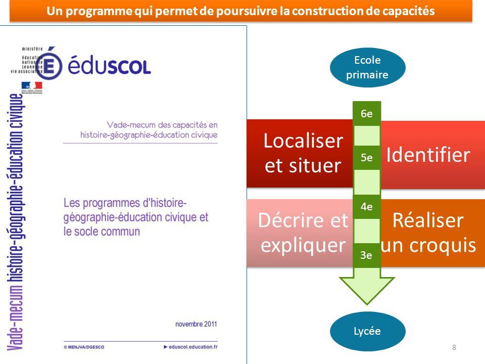 Un programme qui permet de poursuivre la construction de capacités Localiser et situer Identifier Décrire et expliquer Réaliser un croquis Lycée 6e 4e