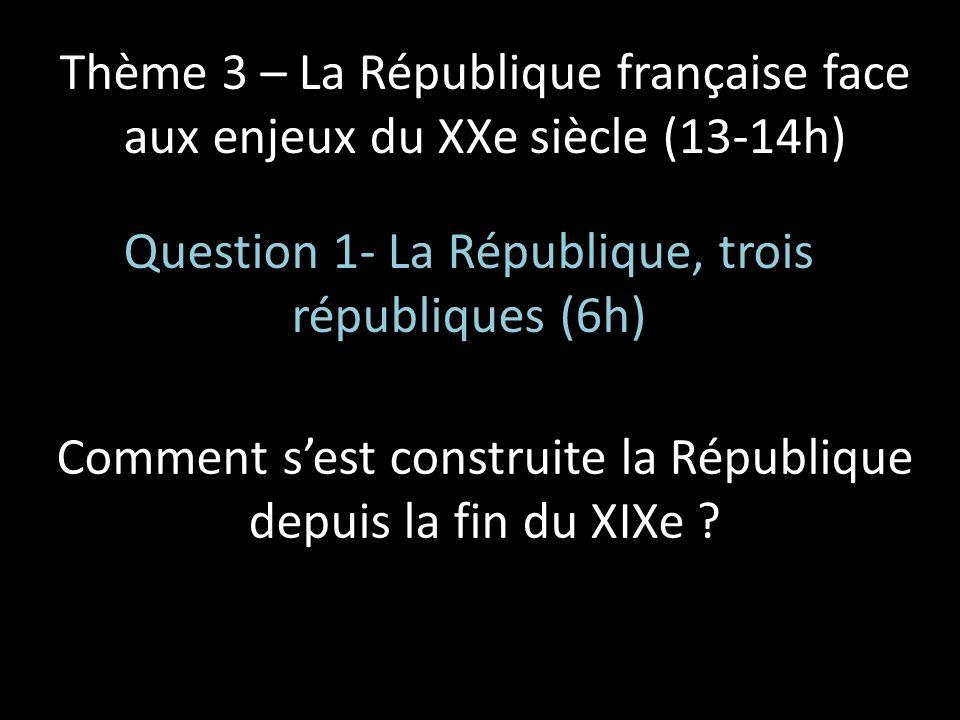 Thème 3 – La République française face aux enjeux du XXe siècle (13-14h) Question 1- La République, trois républiques (6h) Comment sest construite la