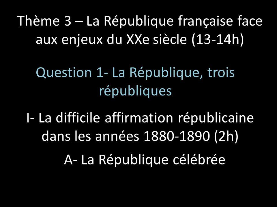 Thème 3 – La République française face aux enjeux du XXe siècle (13-14h) Question 1- La République, trois républiques I- La difficile affirmation répu
