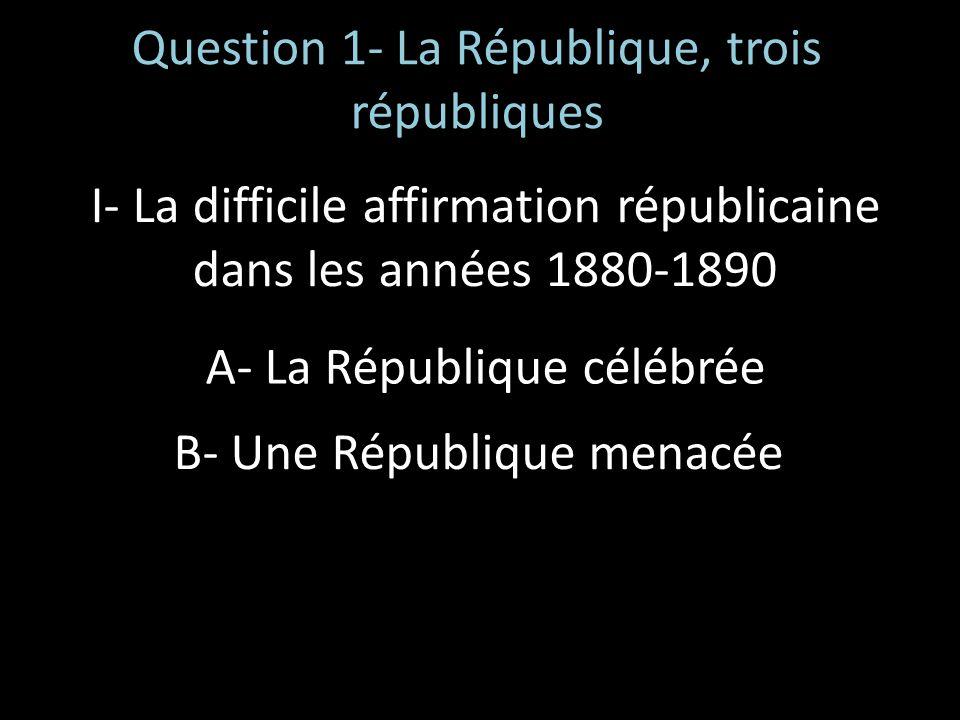 Question 1- La République, trois républiques I- La difficile affirmation républicaine dans les années 1880-1890 A- La République célébrée B- Une Répub