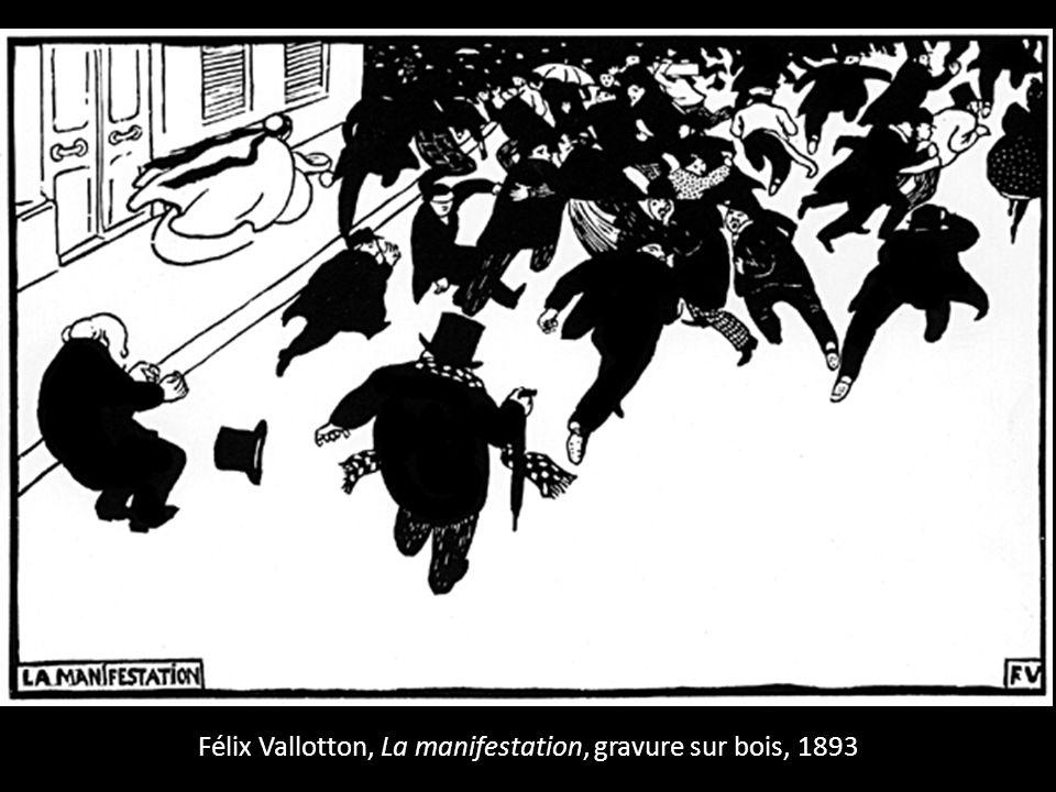 Félix Vallotton, La manifestation, gravure sur bois, 1893