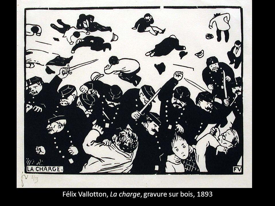 Félix Vallotton, La charge, gravure sur bois, 1893