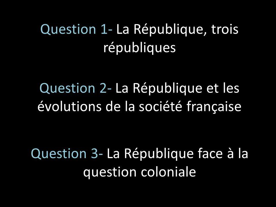 Question 1- La République, trois républiques Question 2- La République et les évolutions de la société française Question 3- La République face à la q