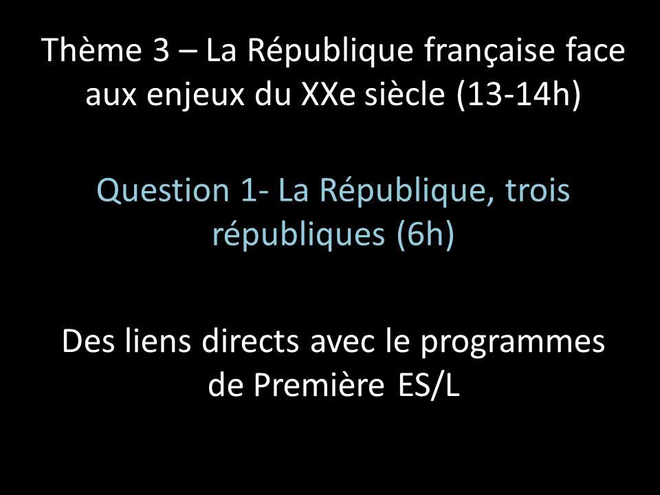 Thème 3 – La République française face aux enjeux du XXe siècle (13-14h) Question 1- La République, trois républiques (6h) Des liens directs avec le p