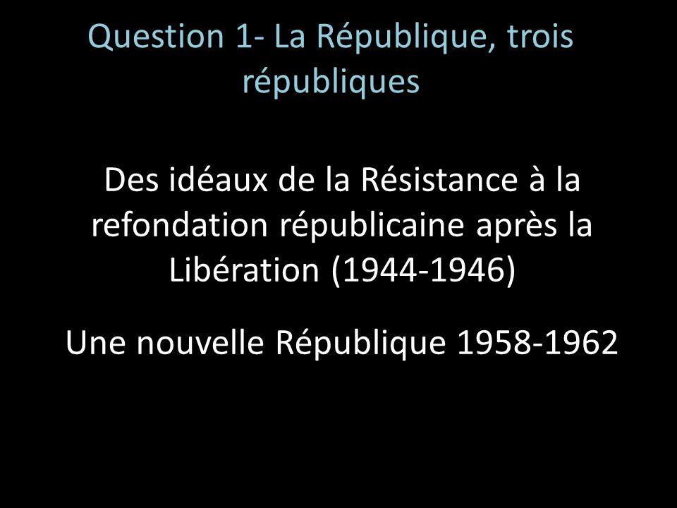 Question 1- La République, trois républiques Des idéaux de la Résistance à la refondation républicaine après la Libération (1944-1946) Une nouvelle Ré