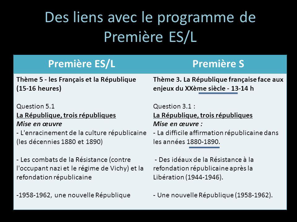 Des liens avec le programme de Première ES/L Première ES/LPremière S Thème 5 - les Français et la République (15-16 heures) Question 5.1 La République