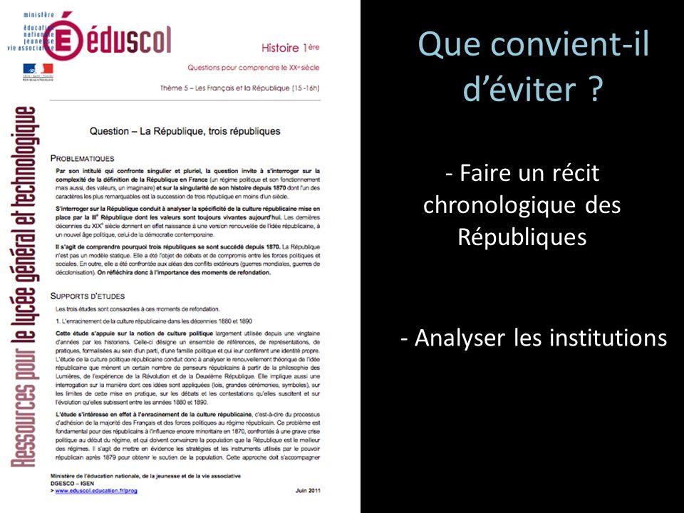 - Faire un récit chronologique des Républiques - Analyser les institutions Que convient-il déviter ?