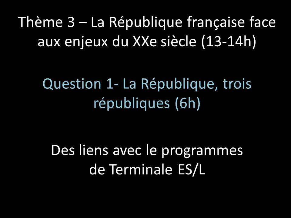 Thème 3 – La République française face aux enjeux du XXe siècle (13-14h) Question 1- La République, trois républiques (6h) Des liens avec le programme