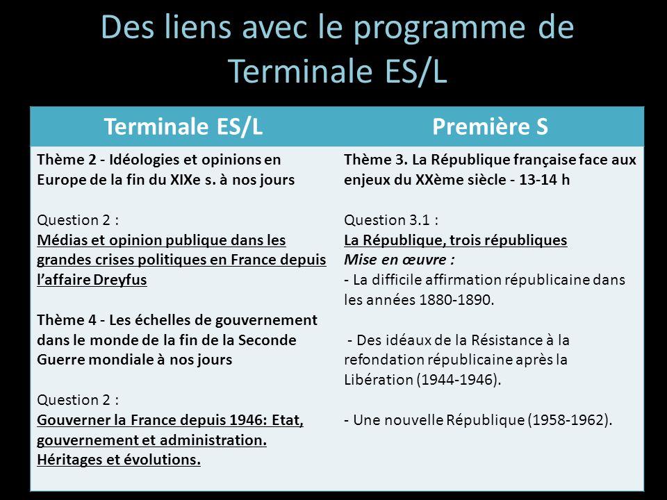 Des liens avec le programme de Terminale ES/L Terminale ES/LPremière S Thème 2 - Idéologies et opinions en Europe de la fin du XIXe s. à nos jours Que