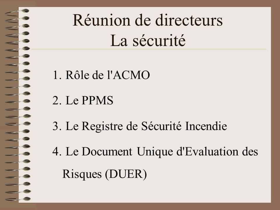 Réunion de directeurs La sécurité 1. Rôle de l'ACMO 2. Le PPMS 3. Le Registre de Sécurité Incendie 4. Le Document Unique d'Evaluation des Risques (DUE