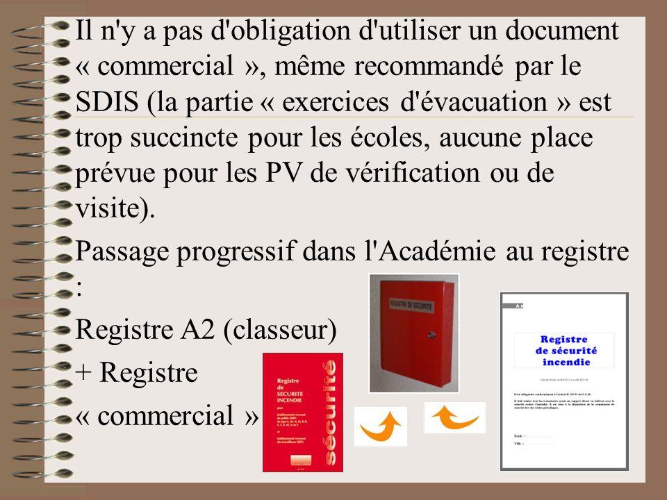 Il n'y a pas d'obligation d'utiliser un document « commercial », même recommandé par le SDIS (la partie « exercices d'évacuation » est trop succincte