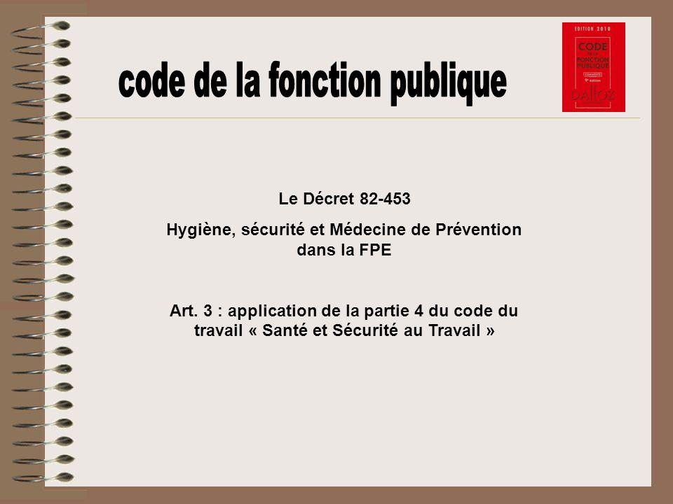 Le Décret 82-453 Hygiène, sécurité et Médecine de Prévention dans la FPE Art. 3 : application de la partie 4 du code du travail « Santé et Sécurité au
