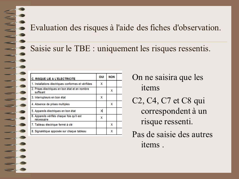Evaluation des risques à l'aide des fiches d'observation. Saisie sur le TBE : uniquement les risques ressentis. On ne saisira que les items C2, C4, C7