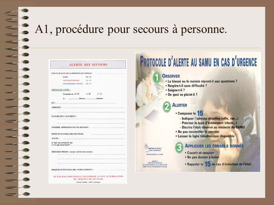 A1, procédure pour secours à personne.