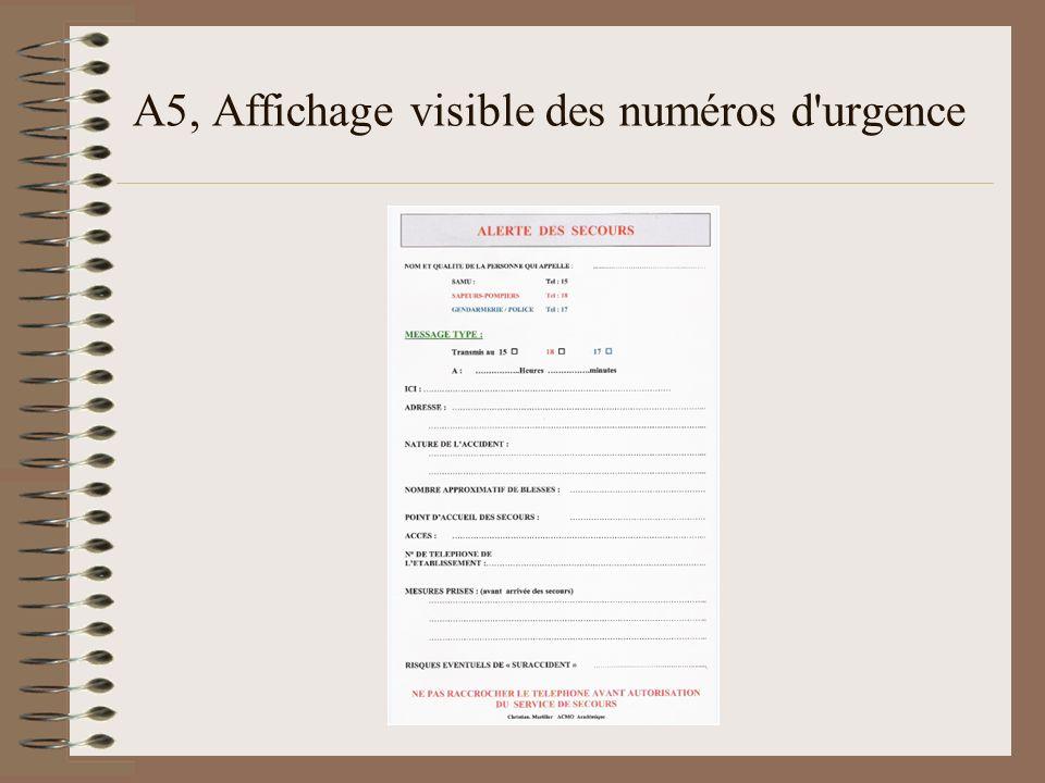A5, Affichage visible des numéros d'urgence
