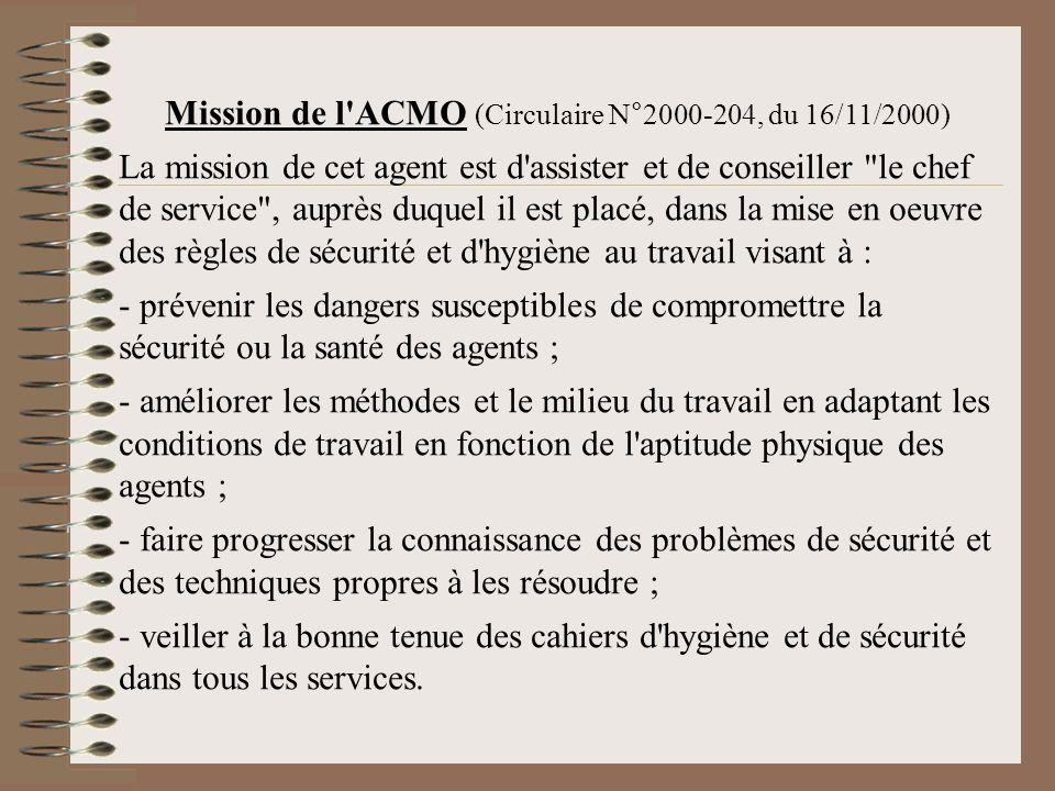 Mission de l'ACMO (Circulaire N°2000-204, du 16/11/2000) La mission de cet agent est d'assister et de conseiller