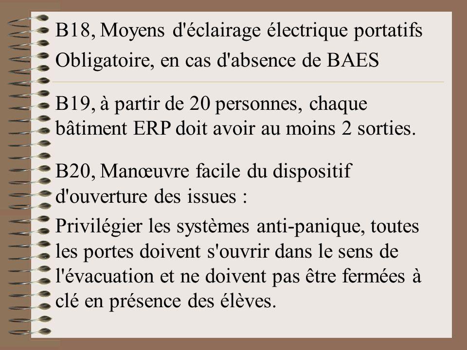 B18, Moyens d'éclairage électrique portatifs Obligatoire, en cas d'absence de BAES B19, à partir de 20 personnes, chaque bâtiment ERP doit avoir au mo