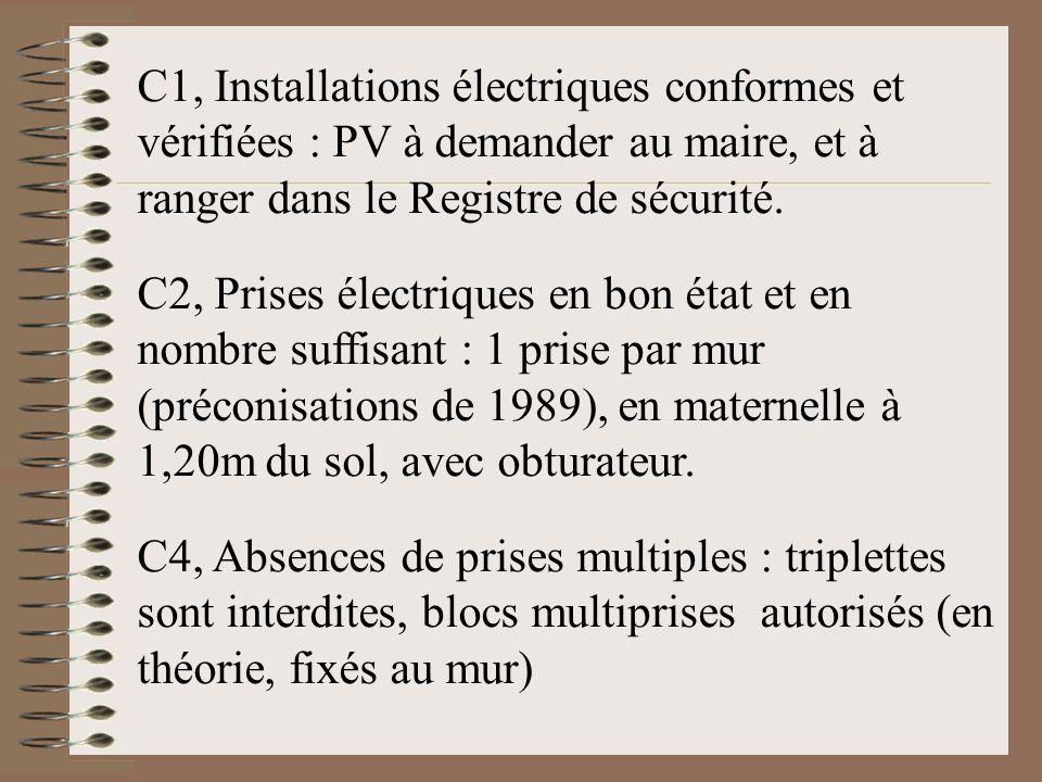 C1, Installations électriques conformes et vérifiées : PV à demander au maire, et à ranger dans le Registre de sécurité. C2, Prises électriques en bon