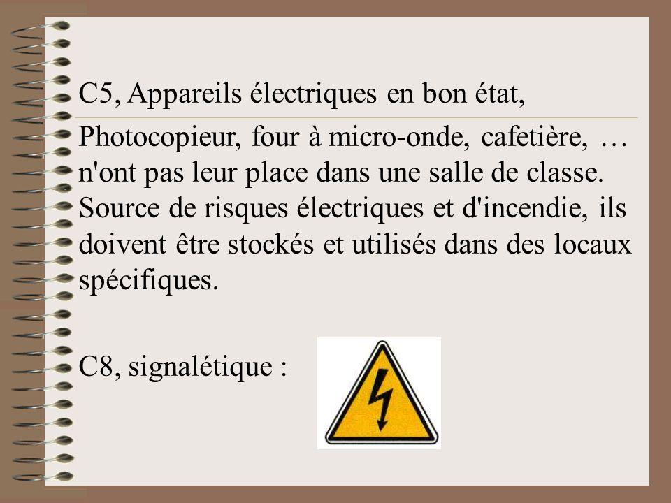 C5, Appareils électriques en bon état, Photocopieur, four à micro-onde, cafetière, … n'ont pas leur place dans une salle de classe. Source de risques