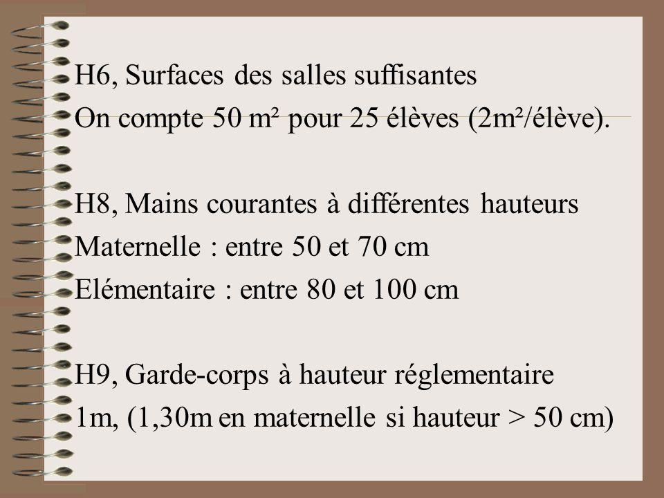 H6, Surfaces des salles suffisantes On compte 50 m² pour 25 élèves (2m²/élève). H8, Mains courantes à différentes hauteurs Maternelle : entre 50 et 70