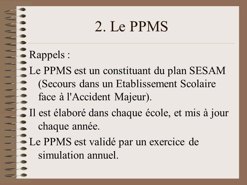 2. Le PPMS Rappels : Le PPMS est un constituant du plan SESAM (Secours dans un Etablissement Scolaire face à l'Accident Majeur). Il est élaboré dans c