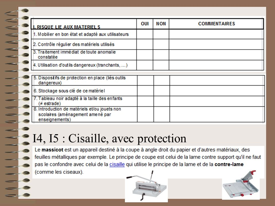 I4, I5 : Cisaille, avec protection