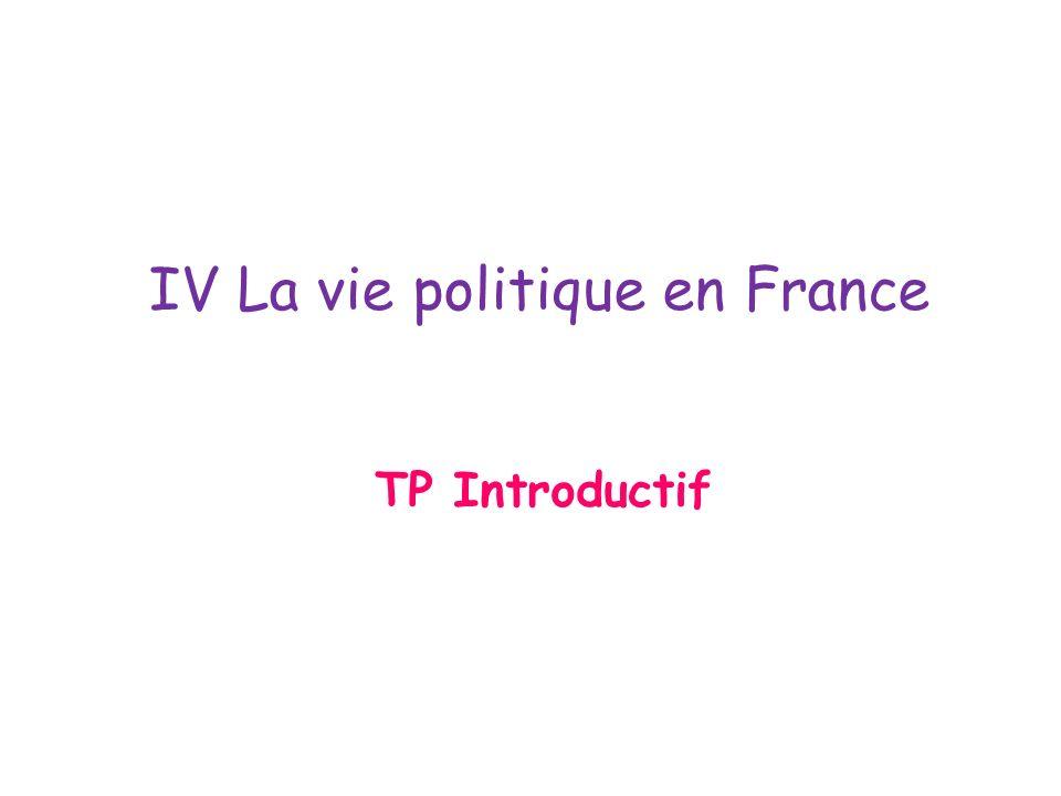 IV La vie politique en France TP Introductif