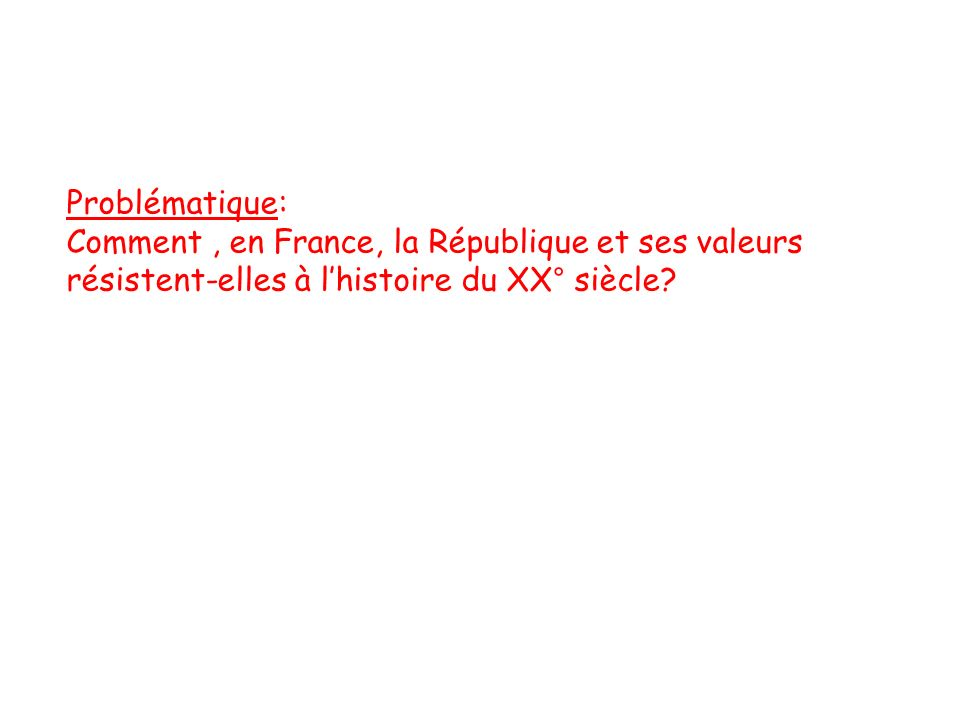 Problématique: Comment, en France, la République et ses valeurs résistent-elles à lhistoire du XX° siècle?