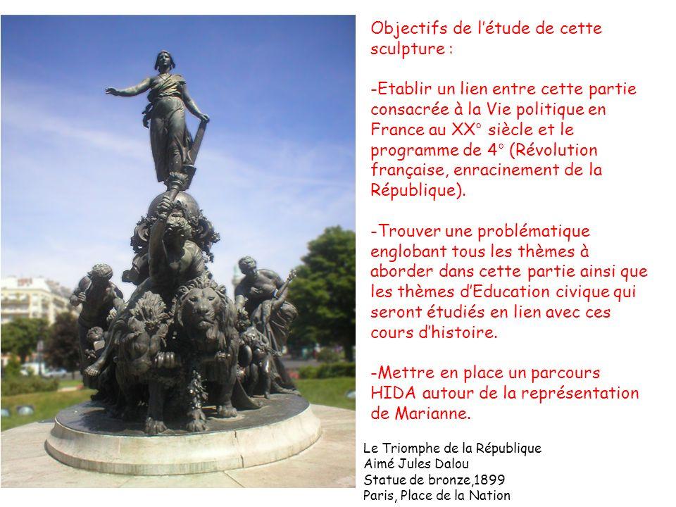 Le Triomphe de la République Aimé Jules Dalou Statue de bronze,1899 Paris, Place de la Nation Objectifs de létude de cette sculpture : -Etablir un lie