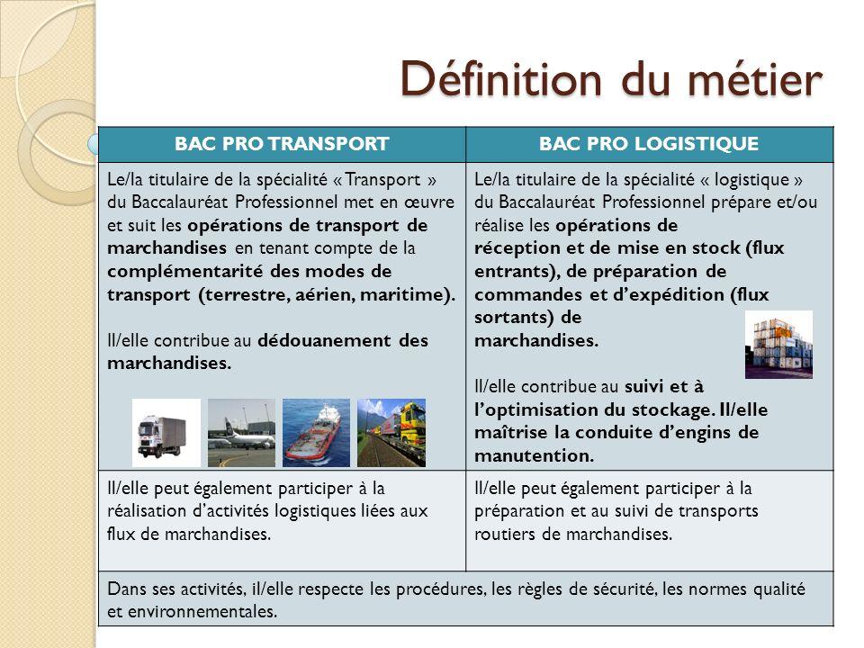 Définition du métier BAC PRO TRANSPORTBAC PRO LOGISTIQUE Le/la titulaire de la spécialité « Transport » du Baccalauréat Professionnel met en œuvre et