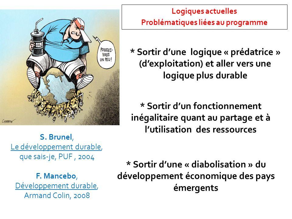 Logiques actuelles Problématiques liées au programme * Sortir dune logique « prédatrice » (dexploitation) et aller vers une logique plus durable * Sor