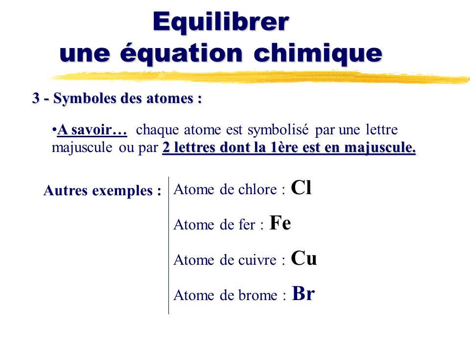 Equilibrer une équation chimique 3 - Symboles des atomes : 2 lettres dont la 1ère est en majuscule.A savoir… chaque atome est symbolisé par une lettre majuscule ou par 2 lettres dont la 1ère est en majuscule.