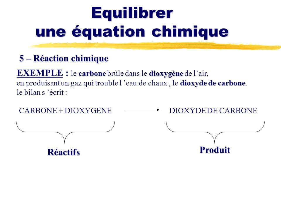 Equilibrer une équation chimique 5 – Réaction chimique carbonedioxygène EXEMPLE : le carbone brûle dans le dioxygène de lair, dioxyde de carbone en produisant un gaz qui trouble l eau de chaux, le dioxyde de carbone.