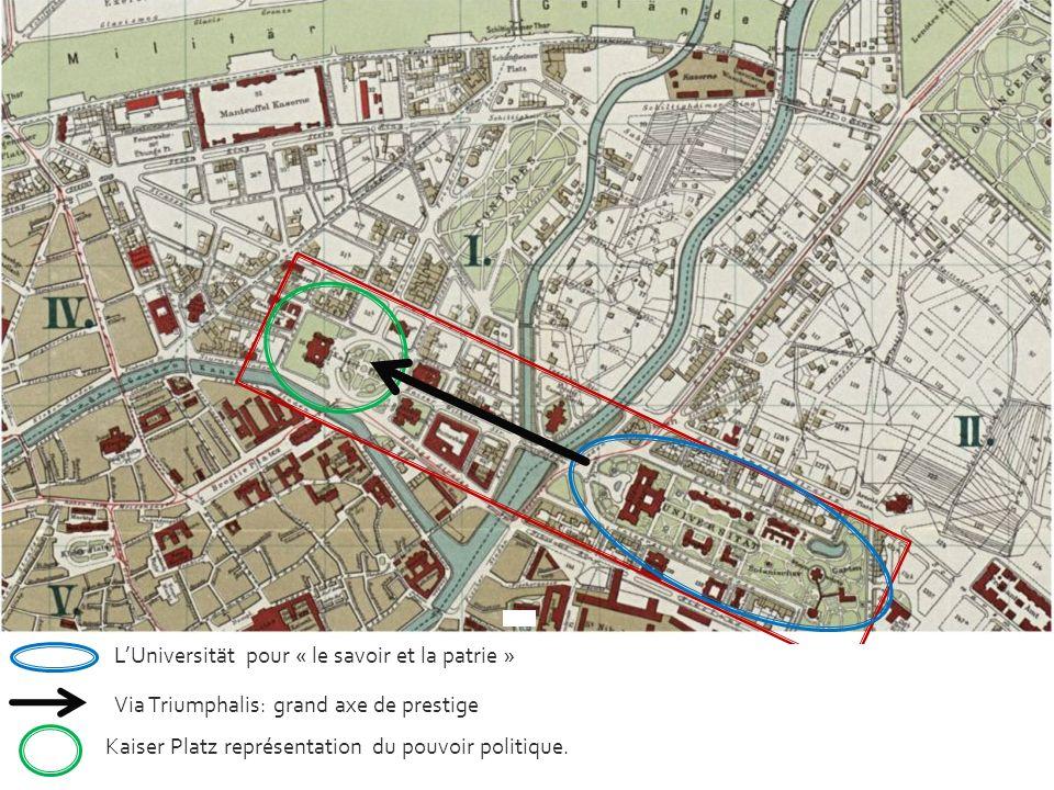LUniversität pour « le savoir et la patrie » Via Triumphalis: grand axe de prestige Kaiser Platz représentation du pouvoir politique.