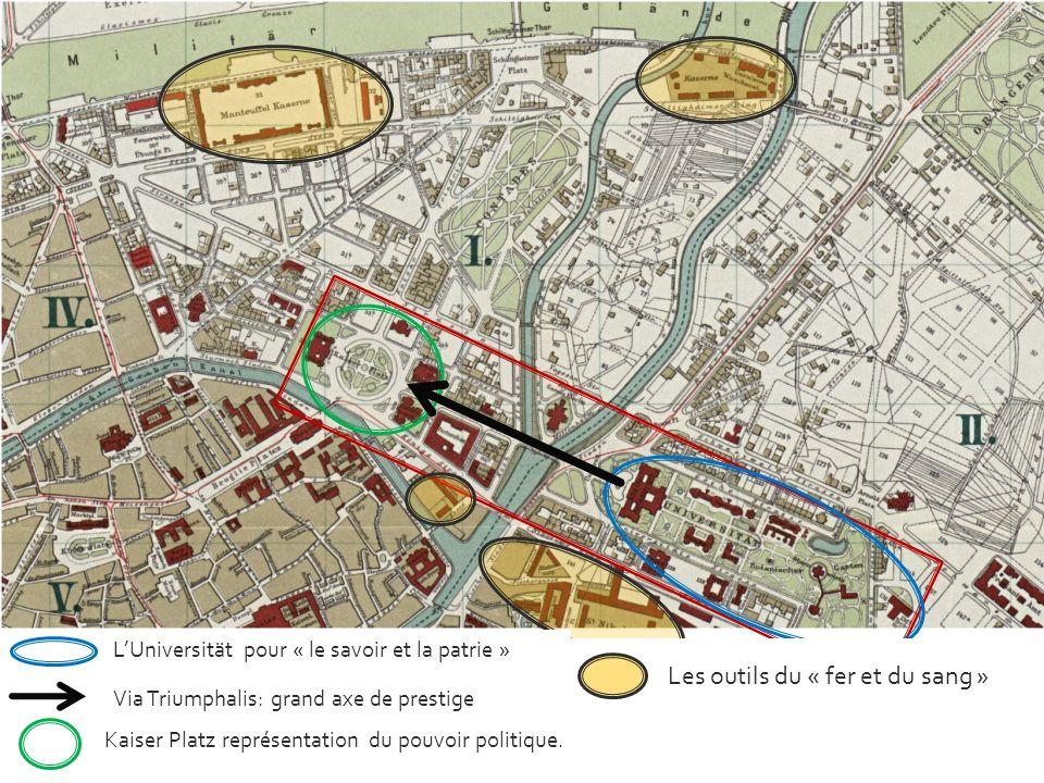 LUniversität pour « le savoir et la patrie » Via Triumphalis: grand axe de prestige Kaiser Platz représentation du pouvoir politique. Les outils du «