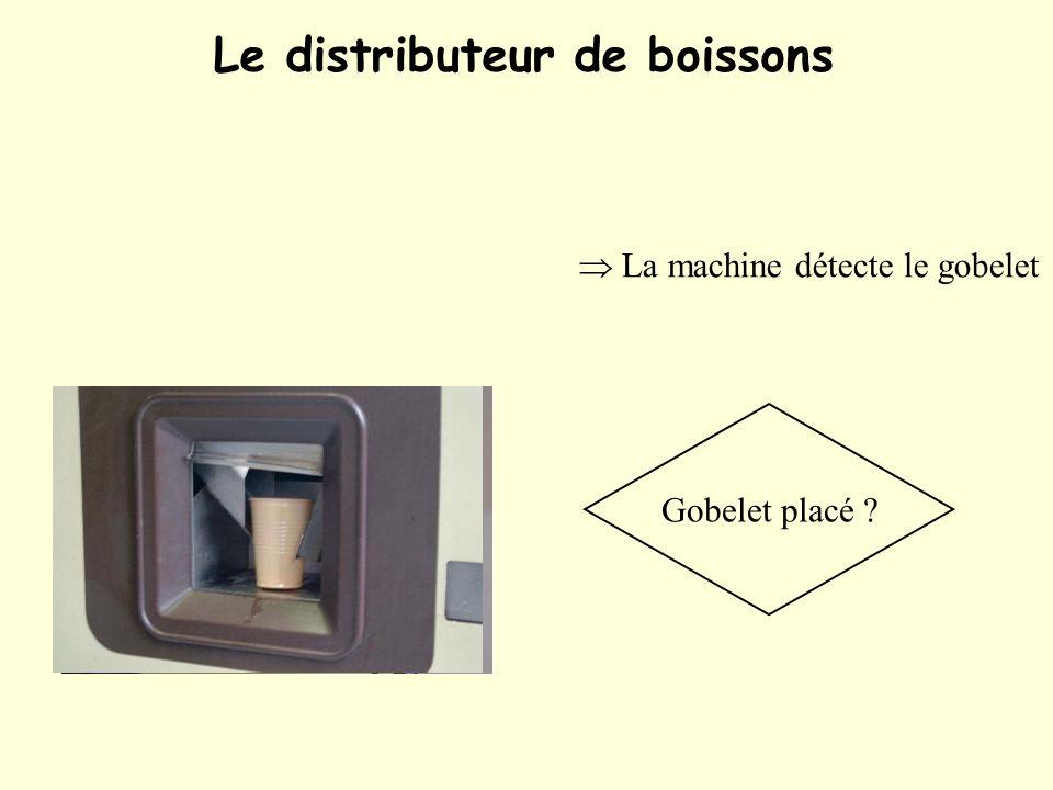 Le distributeur de boissons La machine détecte le gobelet Gobelet placé ?