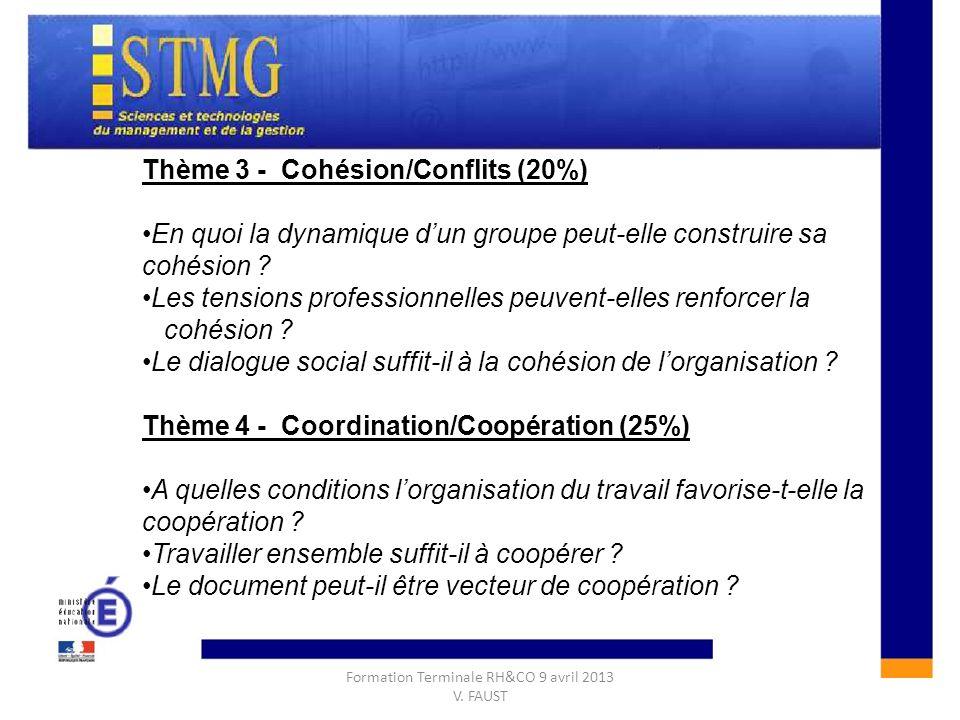 CONSTRUIRE UNE REPONSE A LAQUESTION DE GESTION :CONSTRUIRE UNE REPONSE A LAQUESTION DE GESTION : Thème 3 - Cohésion/Conflits (20%) En quoi la dynamiqu