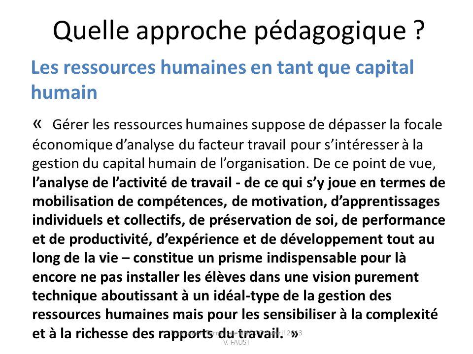 Quelle approche pédagogique ? Les ressources humaines en tant que capital humain « Gérer les ressources humaines suppose de dépasser la focale économi