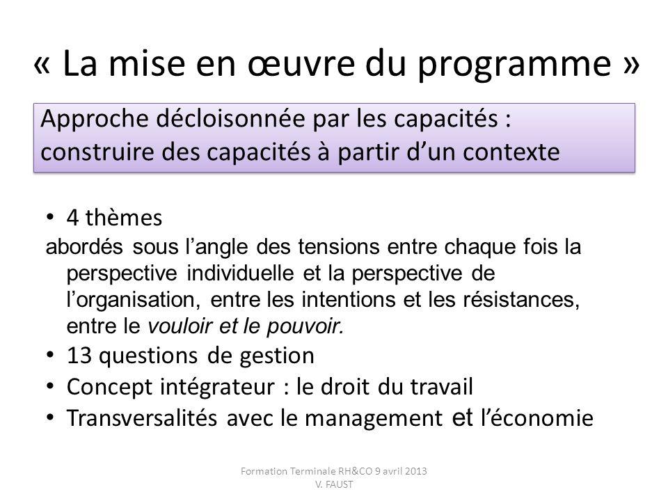 « La mise en œuvre du programme » Approche décloisonnée par les capacités : construire des capacités à partir dun contexte Approche décloisonnée par l