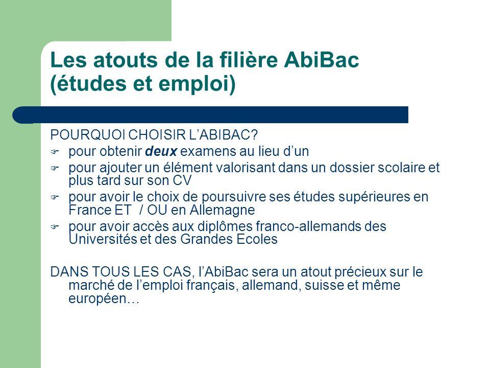 Les atouts de la filière AbiBac (études et emploi) POURQUOI CHOISIR LABIBAC? pour obtenir deux examens au lieu dun pour ajouter un élément valorisant