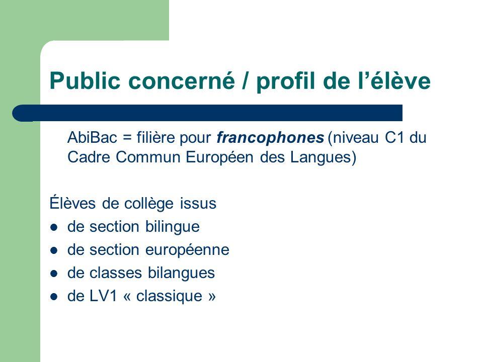 Public concerné / profil de lélève AbiBac = filière pour francophones (niveau C1 du Cadre Commun Européen des Langues) Élèves de collège issus de sect