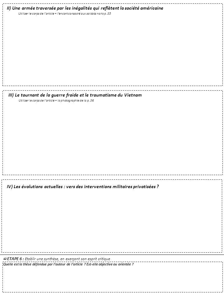 ETAPE 6 : Etablir une synthèse, en exerçant son esprit critique Quelle est la thèse défendue par lauteur de larticle ? Est-elle objective ou orientée