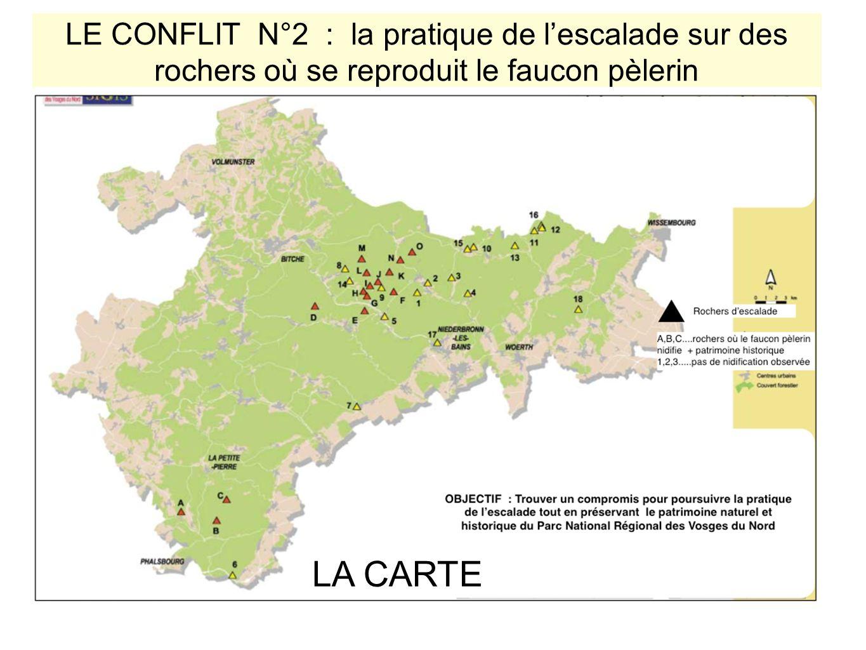 LE CONFLIT N°2 : la pratique de lescalade sur des rochers où se reproduit le faucon pèlerin LA CARTE