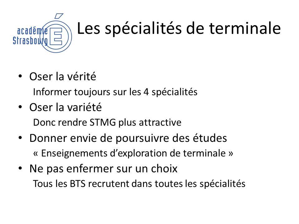 Les spécialités de terminale Oser la vérité Informer toujours sur les 4 spécialités Oser la variété Donc rendre STMG plus attractive Donner envie de p