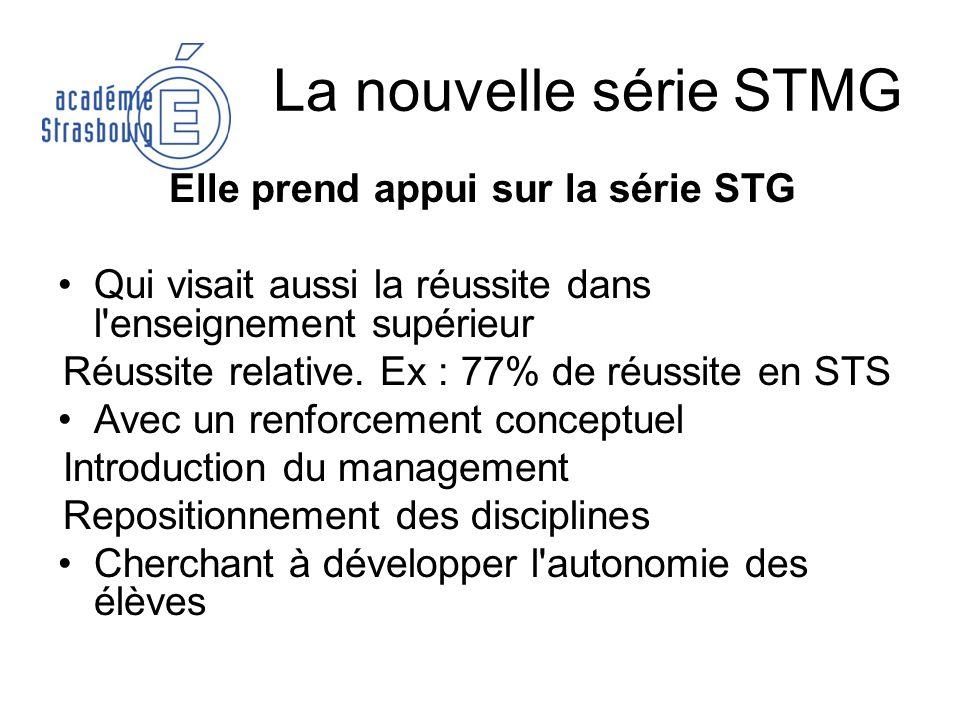 La nouvelle série STMG Elle prend appui sur la série STG Qui visait aussi la réussite dans l'enseignement supérieur Réussite relative. Ex : 77% de réu