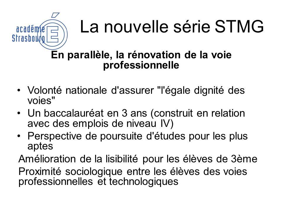 La nouvelle série STMG En parallèle, la rénovation de la voie professionnelle Volonté nationale d'assurer
